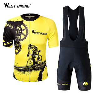 WEST BIKING Summer Men Cycling Clothing Breathable Mountian MTB Bike Bicycle Clothes Ropa Ciclismo Quick-Dry Cycling Jersey Sets