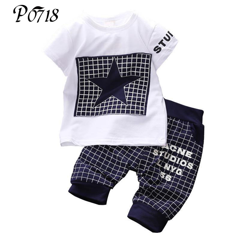 Newborn Baby Boys Clothes 2018 New Summer Children 2 Pieces Sets Star Printed Infant Casual T-shirts Tops + Pants Sports Suits