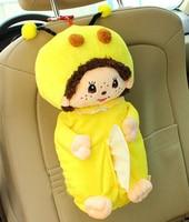 Bonito 1 pc 40 cm morango dos desenhos animados ponto panda abelha coelho Monchhichi caso toalha de papel caixa de tecido veículo pelúcia de presente menina brinquedo