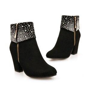 Image 4 - Nouvelles chaussures de mode femmes bottes automne hiver strass cristal épais carré troupeau cheville fermeture éclair bottes chaudes bout rond chaussures