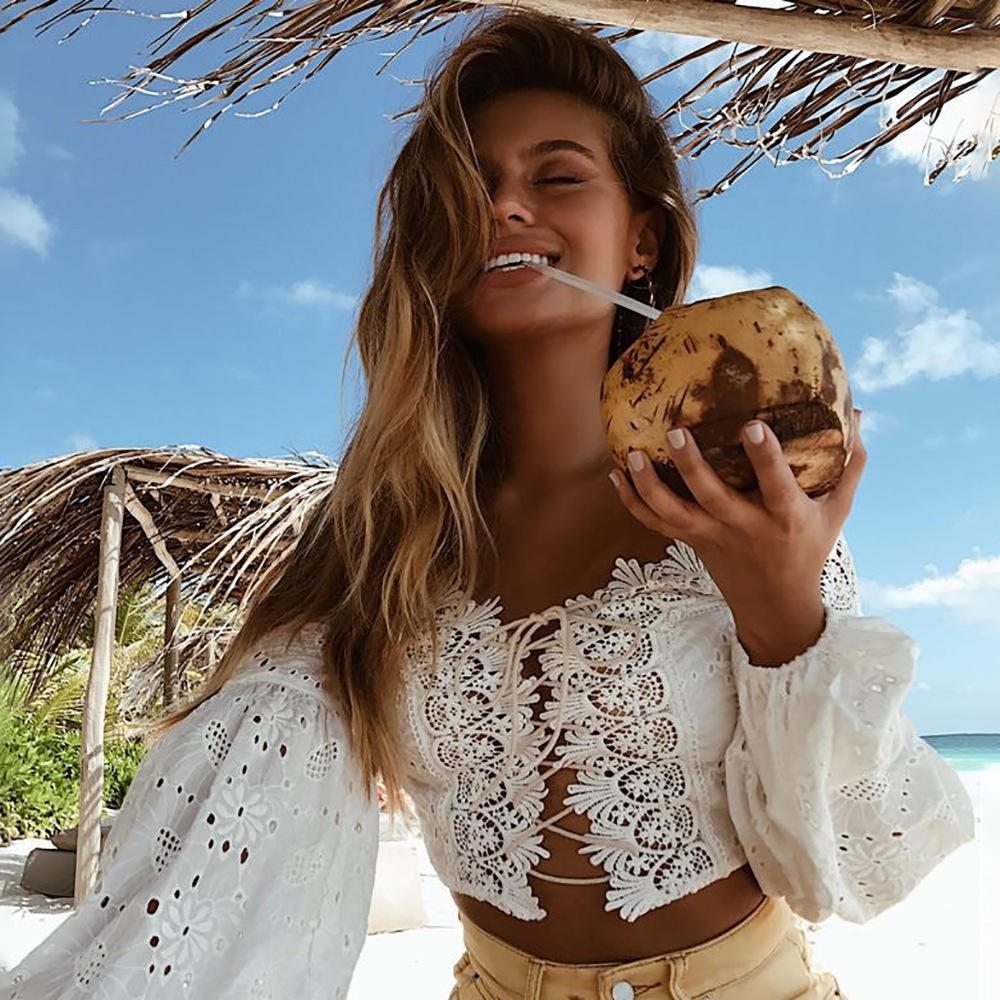 Bohemian Hollow Out Chiffon Sexy Women Criss Cross Bandage Lace Semi sheer Plunge Long Sleeve White t shirt vintage tops stitch in T Shirts from Women 39 s Clothing