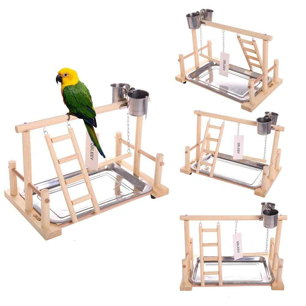 Parrots Playstand Bird Playground Wood Perch Gym Stand Playpen Ladder Toys Exercise Playgym Conure Lovebirds