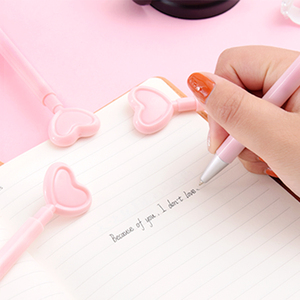 Image 2 - 36 pcs/Lot Pink heart gel pen Pink color body Press type writing signature pens Stationery Office supplies Canetas escolar F706