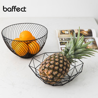 Nordic style Iron Art Fruit Storage Basket Home Organizer Bowl For Vegetable Snacks Candy Kitchen Table Dining Decoration Tool|Storage Baskets| |  -