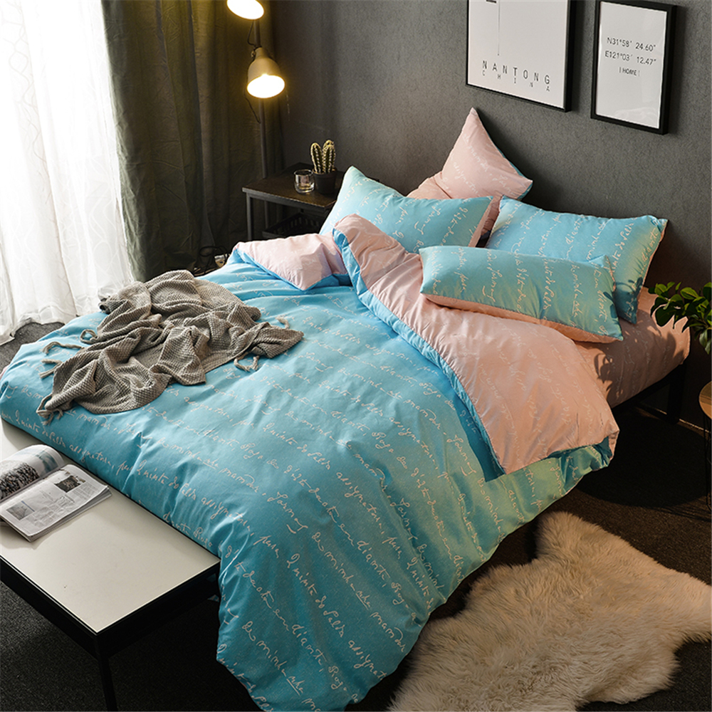 Home Textile Simple Bed Linen Soft Blue Couple Bed Cover Set Duvet Cover Dormitory Bedding Cover Set King Bedclothes SetHome Textile Simple Bed Linen Soft Blue Couple Bed Cover Set Duvet Cover Dormitory Bedding Cover Set King Bedclothes Set