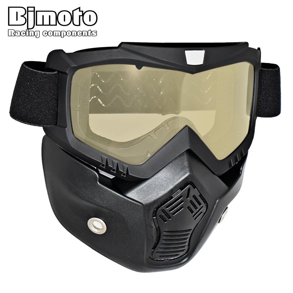 Ny Mask Mask Mask Mask med Avtagbar Glasögon och Mouthilter för Modular för Open Face Moto Vintage Hjälmar