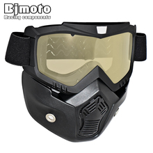New Motorcycle Face Mask Dust Mask With Detachable Goggles And Mouth Filter for Modular for Open