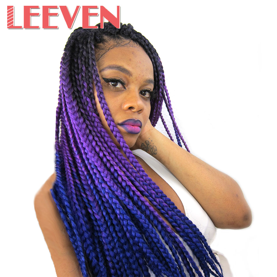 Jumbo Braids Clever Leeven Synthetic Jumbo Braids Kanekalon Crochet Braiding Hair Extensions Bulk Blue Pink White Pink African Fiber Hair 1pcs