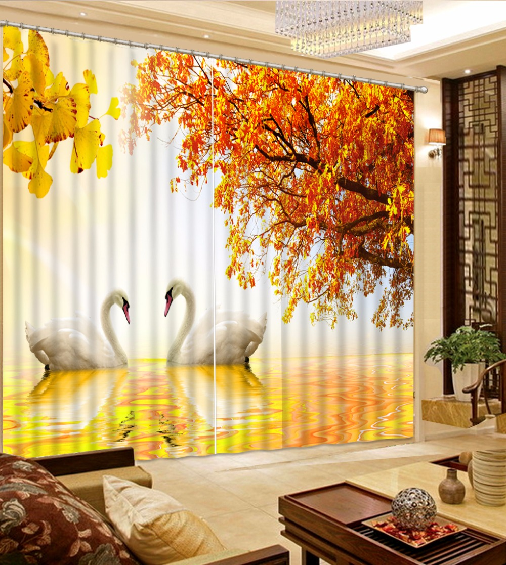 Landscape Curtains Maple Leaf swan Blackout Sheer Curtains For Window Decoration Beautiful HD 3D Curtain Polyester Drapes Landscape Curtains Maple Leaf swan Blackout Sheer Curtains For Window Decoration Beautiful HD 3D Curtain Polyester Drapes