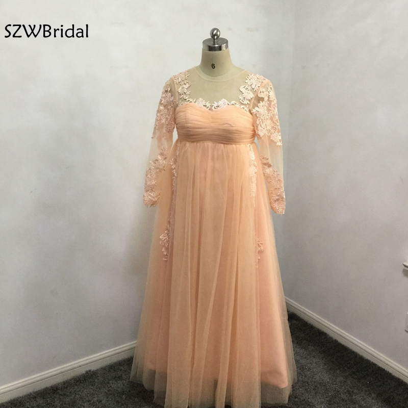 New Arrival Long Evening dresses Plus size 2019 Tulle abiye ever pretty Pregnant evening gown Robe de soiree Arabic long dress