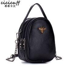 Small Crossbody Bags for Women Genuine Leather 3 Zipper Pocket Cute Bee Designer Lady Handbag Girl Shoulder Messenger Bag Female недорого