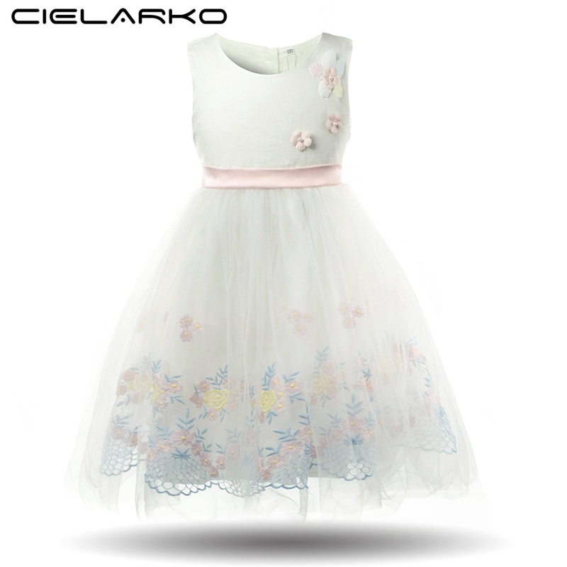 Cielarko Formal Girls Dress Flower Princess Party Kids Dresses 2018 Fancy Baby Frocks Tulle Children Clothes Girl Summer Outfits spring summer 2018 children girl clothes sequined top red sky blue purple princess formal girls hot pink dresses tulle bow