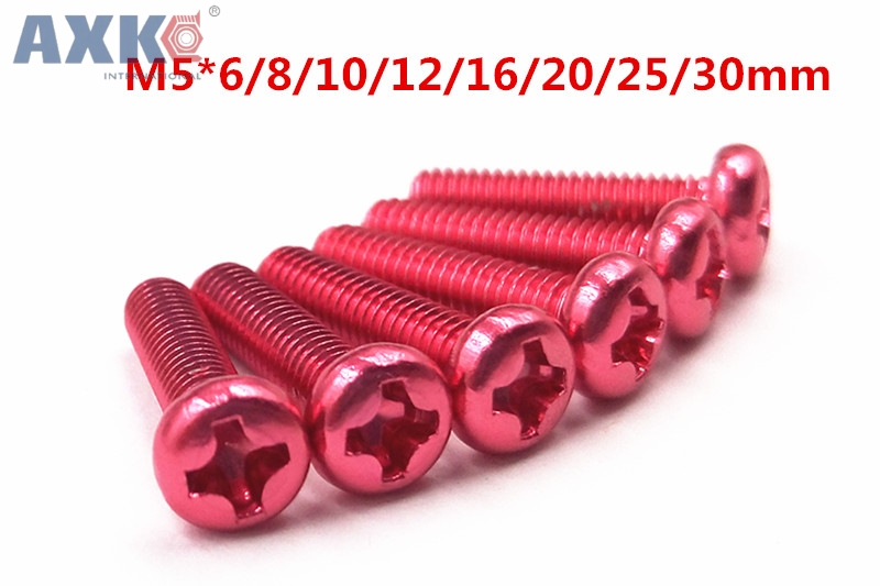 AXK M5*6/8/10/12/16/20/25/30mm Aluminum Alloy color Phillips Screws Round Head Bolts Cross Slot Screw Bolt wine Red 10pcs m3 round aluminum alloy long nut studs standoffs fastener 8 10 15 20 25 30 35mm