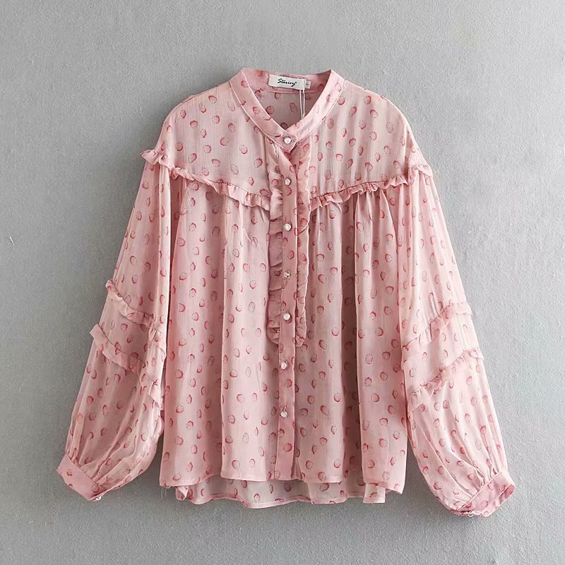 2019 New Women Sweet Agaric Lace Printing Casual Loose Blouse O Neck Lantern Sleeve Shirts Women Chic Blusas Chemise Tops LS3565