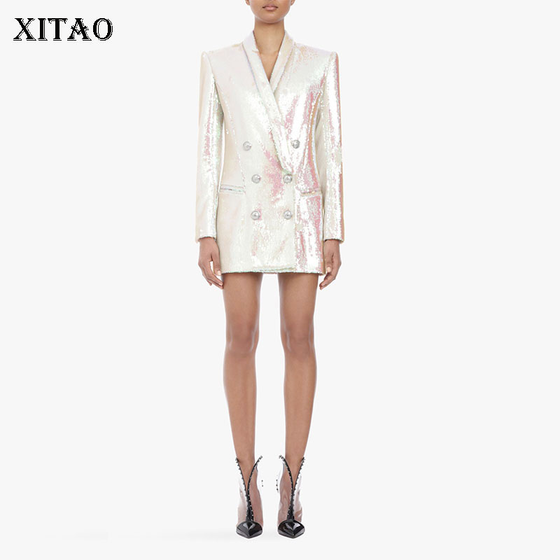 XITAO High-end Custom Women Europe Fashion New Double Breasted Notched Collar Full Sleeve Solid Color Button Blazer DLL1854