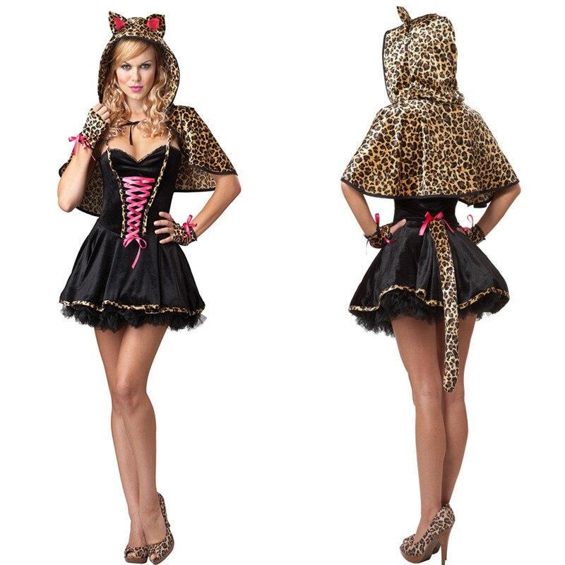 226fb1d11c Sexy Cat Women Costume Halloween Cosplay Leopard Fancy Ball Mini Dress  Party Club Masquerade Costumes +