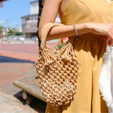 Ins Summer Straw Hand Woven Bag Mesh Tote Cotton Handbag Vacation Fashion Beach Women Handmade Braided Hollow Out Bags