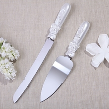 Fashion wedding cake knife  Rose with rhinstone Design Cake Knife Server Set 70215ST