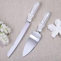 Kişiselleştirilmiş Moda düğün pastası bıçak DC1017 rhinstone Tasarım Pasta Bıçak Seti Sunucu ile Gül