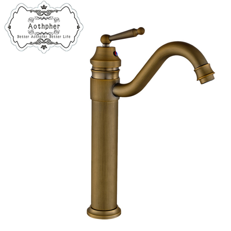 Aothpher Classic Hot Cold Kitchen Faucet Mixer Tap Brass Brushed Faucet Bathroom Basin Sink Mixer Bath