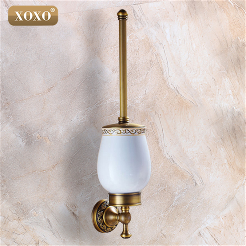 XOXO European Style Antique Toilet Brush Holder Wall Mounted Bathroom Brush Holder Set Bathroom Accessories 20081B european style brass toilet brush holder wall mounted antique toilet brush bathroom products accessories durable