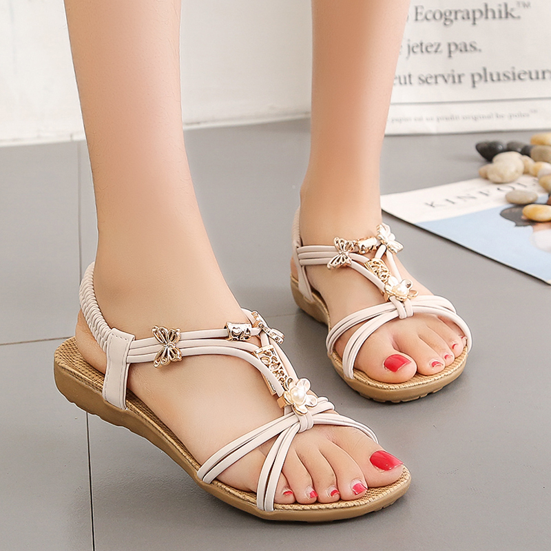 New Women Sandals Summer Fashion Flip Flops Female Sandals Flat Shoes Bohemia Causal Ladies Footwear Solid Women Shoes