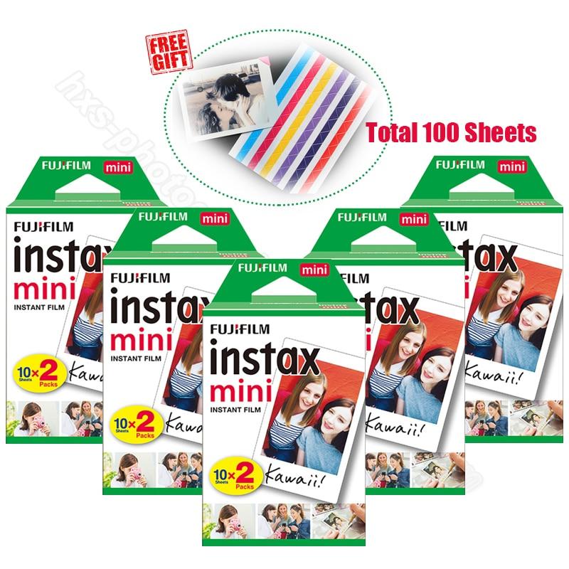 100pcs Genuine Fujifilm Instax Mini 9 Instant White Film for 9 7s 8 10 20 25 50s 50i Camera & Share Smartphone Printer SP-1 SP-2 100 pcs fujifilm instax mini 8 film 20x5 sheets for camera instant mini 7s 25 50s 90 photo paper with retail box free shiping