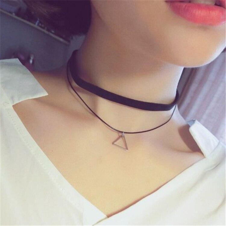 2017 new Gothic Women Chokers Necklaces The new Korean retro minimalist lady Multi Chain Pendant Necklace geometric clavicle