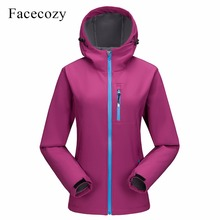 Facecozy Women Softshell Winter Warm Hiking Jacket Hooded Co