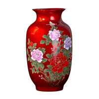 Jingdezhen Ceramic Vase Arrangements Chinese Red Modern Decoration Wine Cabinet TV Cabinet Living Room Table Arrangements