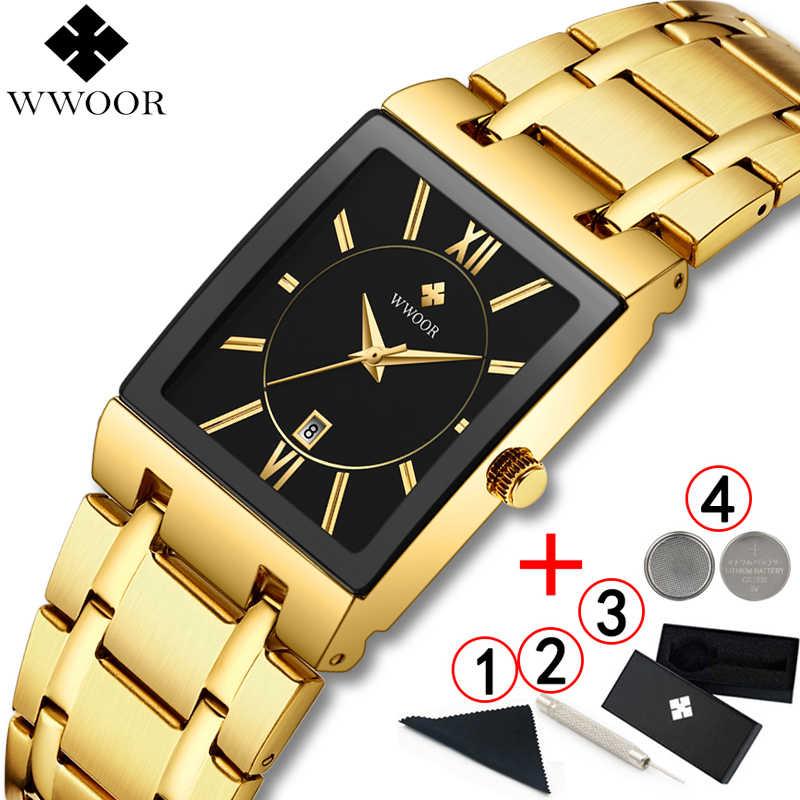 Hommes montres Top marque de luxe WWOOR or noir carré montre à Quartz hommes 2019 étanche doré homme montre-bracelet hommes montres 2019