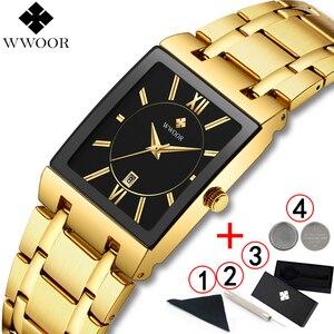 Image 2 - Men Watches Top Brand Luxury WWOOR Gold Black Square Quartz watch men 2020 Waterproof Golden Male Wristwatch Men watches 2019
