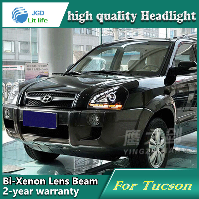 high quality Car styling case for Hyundai Tucson 2005-09 Headlights LED Headlight DRL Lens Double Beam HID Xenon Car Accessories hireno headlamp for 2015 2017 hyundai ix25 crete headlight headlight assembly led drl angel lens double beam hid xenon 2pcs