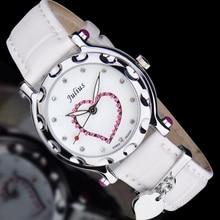 Леди женские Часы Япония Кварцевых Часов Лучший Моды Платье Кожаный Браслет Часы Сердце Девушки Подарок На День Рождения Юлий Коробка 397