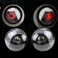 7 Round H4 45W LED Headlight Sealed Beam Assembly Plug In Play Red Demon Eye DRL