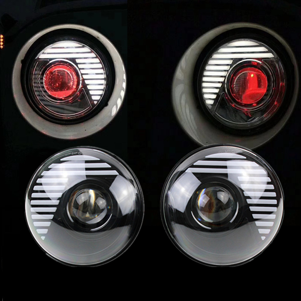 7 Round H4 45W LED Headlight Sealed Beam Assembly Plug in Play Red Demon Eye DRL Projector LED Headlights for Jeep JK 07-15