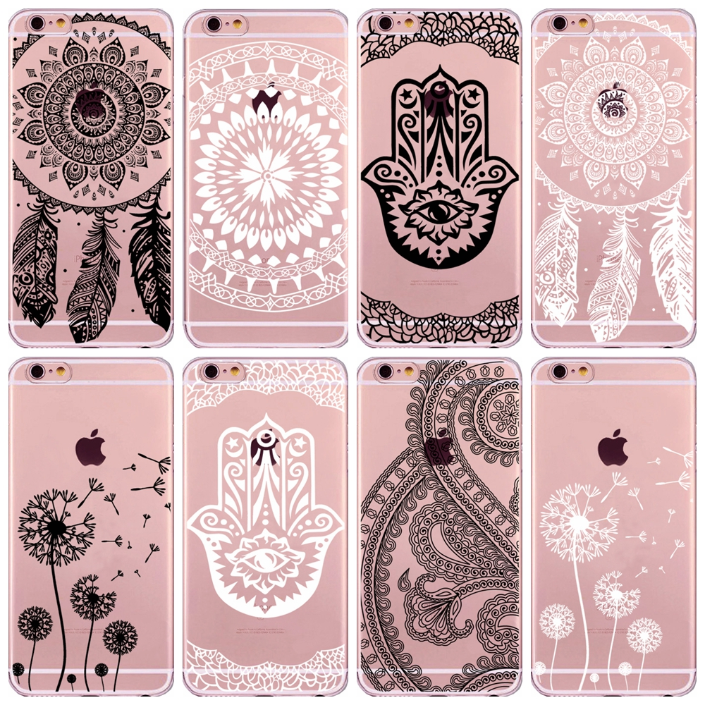 Henna Indian Dreamcatcher Hamsa Hand TPU Phone Cases for iPhone 6 6S 7 Plus 5 5S SE Feather Dandelion Case Cover Capa Fundas ...