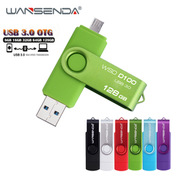 WANSENDA High Speed USB 3.0 OTG Pen Drive Metal USB Flash Drive 8gb 16gb 32gb 64gb 128gb Micro USB Stick 3.0 Flash Memory Stick