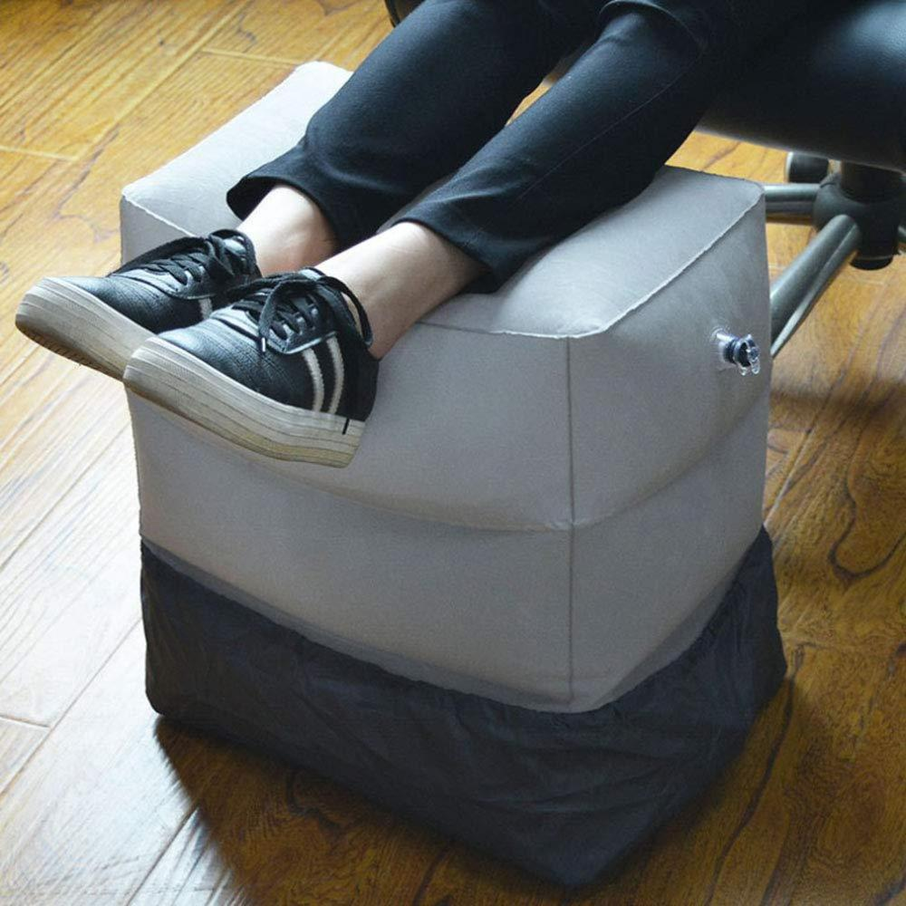 Flocking Travel Inflatable Foot Pad Footstool High-Speed Rail Warm Footrest Pad Folding Adjustable Footrest(China)