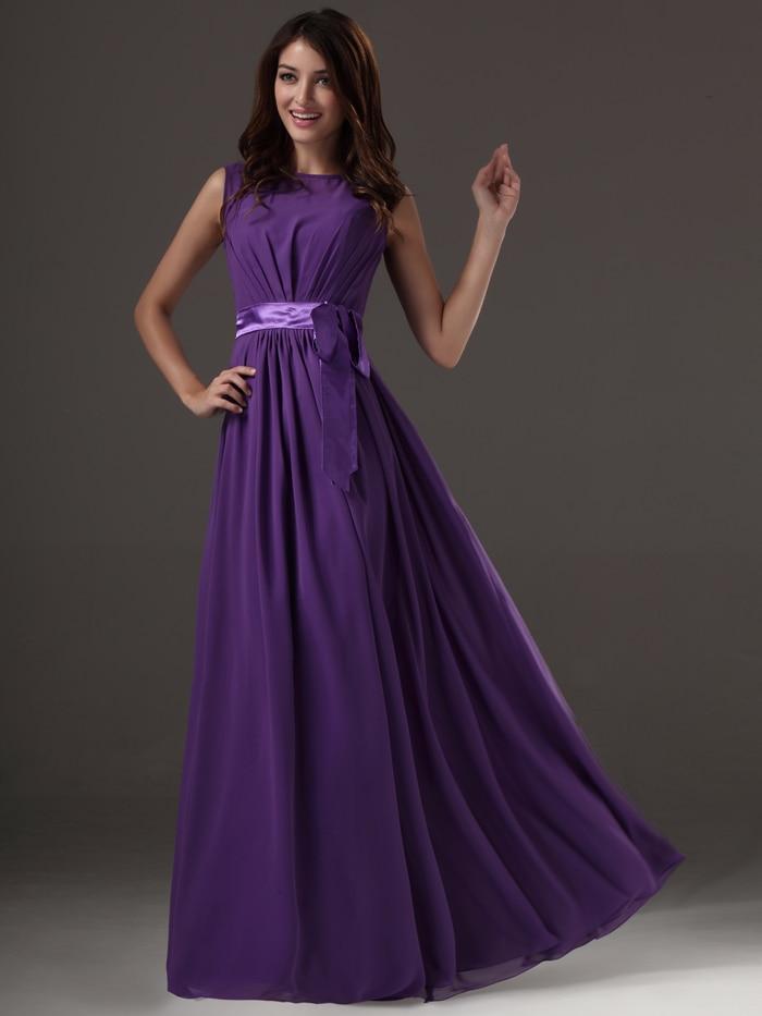 Modest Purple Long Floor Length A line Sleeveless Summer Chiffon ...