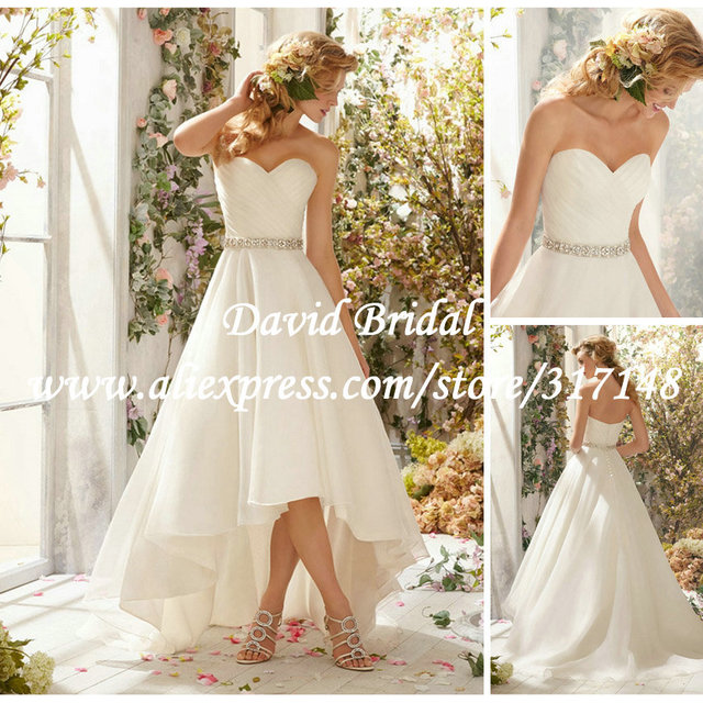 Affordable Simple High Low 2017 A Line Sweetheart Beaded Short Front Long Back Western Country Wedding