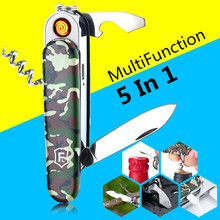 5 In 1 Multifunction USB Lighter Saber Rechargeable Electronic Turbo Lighter Cigarette Swiss Army Knife Camping Tool Camouflage