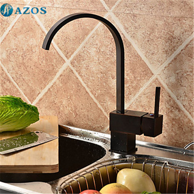 Kitchen Basin Taps Square Swivel Waterfall Hose Spray Single Handle Nickle Oil Rubbed Black Antique Brass Deck Mounted CFLT212