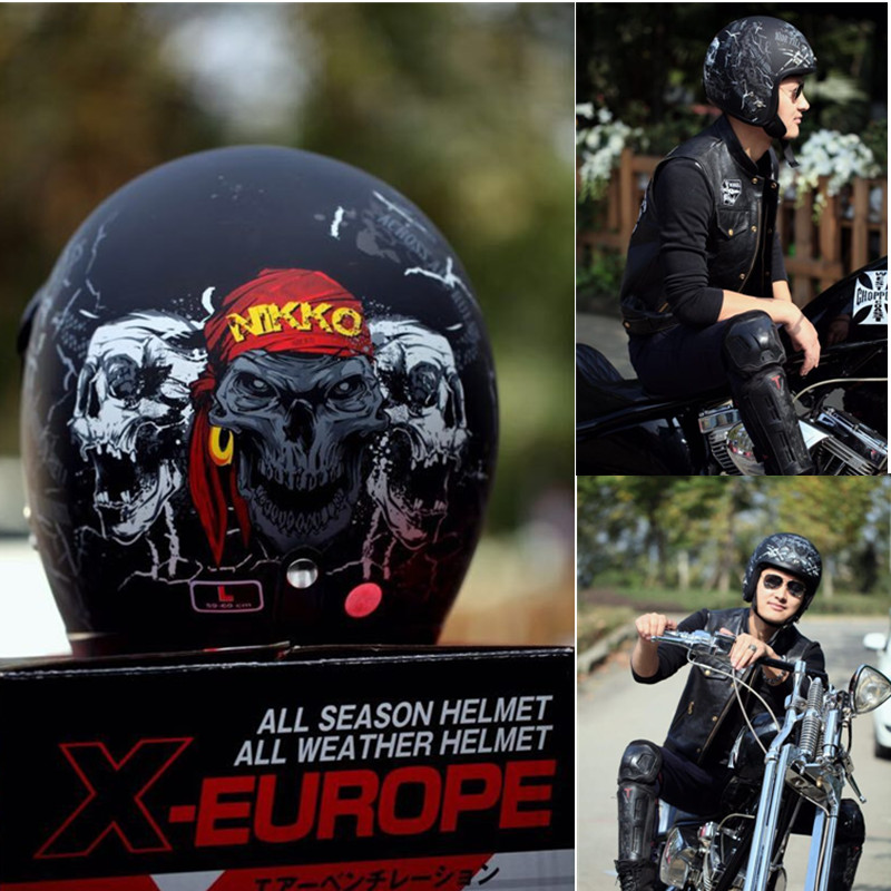 New vintage motorcycle helmet harley retro jet helmets open face moto helmet Pirate style matte black ABS Material S M L XL XXL 2016 newest netherlands authorization beon retro air force harley style half face motorcycle helmet b 100 of abs matte black cat