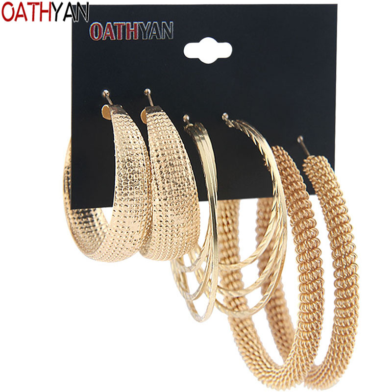 OATHYAN Metal Hoop Earrings-Set Jewelry Circle Oversize Round Gold-Color Women Classic