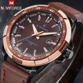 Naviforce marca dos homens do esporte relógios pulseira de couro de quartzo dos homens casuais 30 m relógios à prova d' água relógios de pulso masculino relógio preto amarelo