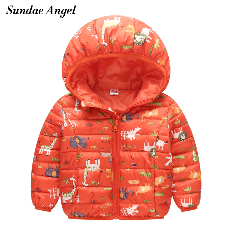 Sundae Angel Down jacket for girl boy Cartoon Pattern Kids Baby Outerwear Coats Parkas Hooded Winter jackets girls Clothes 2-8Y new 2016 baby down coats set baby down jacket suspenders girl