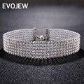 Evojew sparkling completa crystal 6 row rhinestone choker collar para las mujeres collar de cadena collar de novia de la boda joyería del partido