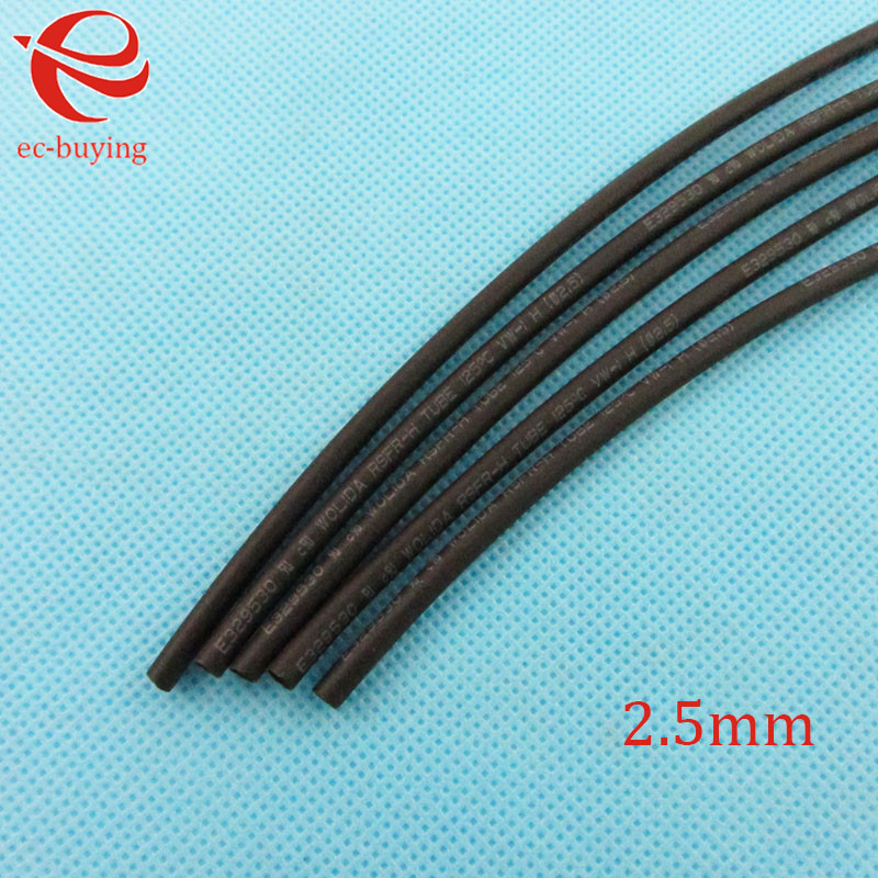 Heat Shrink Tube Black Tube Heat-Shrink Tubing Diameter2.5mm Thermo Jacket Wire Wrap Insulation Materials & Elements 1meter /lot