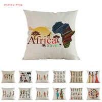 Funda de almohada de estilo africano funda de cojín personaje de dibujos animados arte africano ropa de cama decoración para sofá almohada cubierta almofada